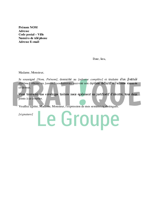lettre de demande de d u00e9livrance du dipl u00f4me d u00e9finitif