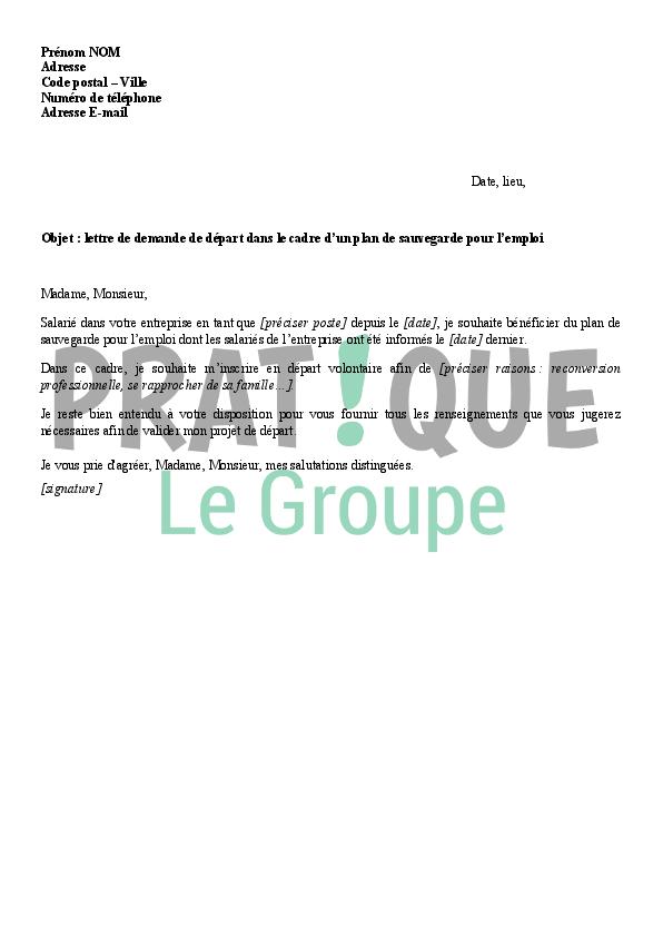 lettre de demande de d 233 part dans le cadre d un plan de sauvegarde pour l emploi pse pratique fr