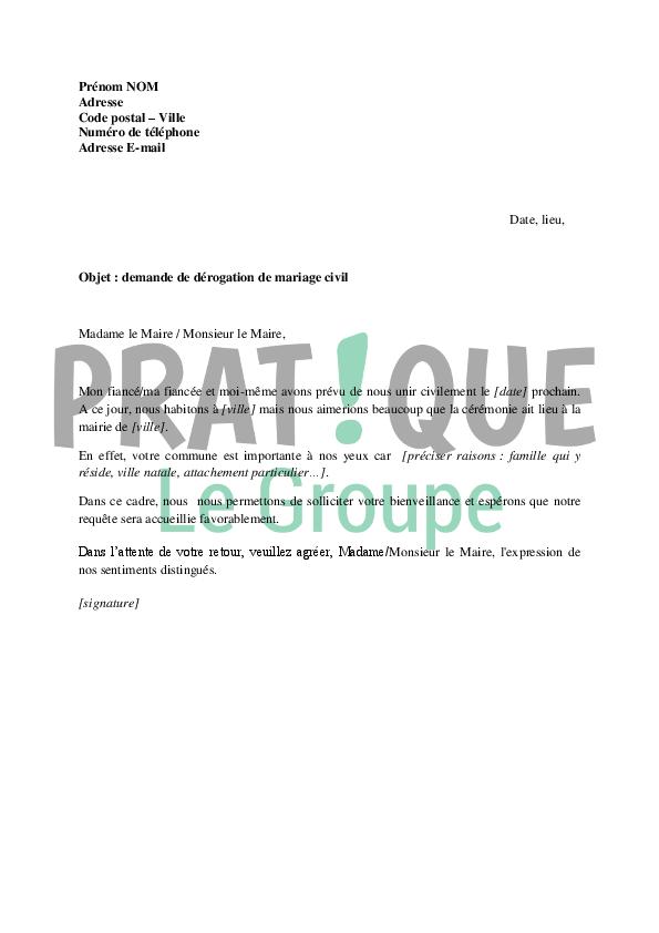 Lettre De Demande De Derogation Pour Un Mariage Civil Pratique Fr