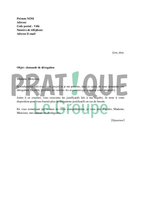 lettre derogation