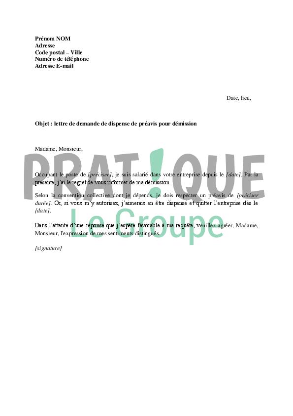 lettre de demande de dispense de pr u00e9avis pour d u00e9mission