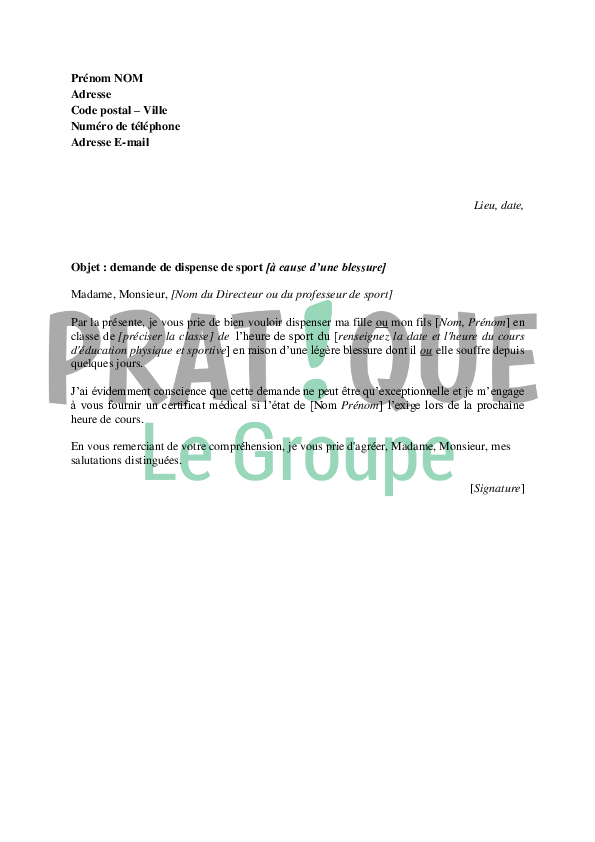 lettre de dispense de sport