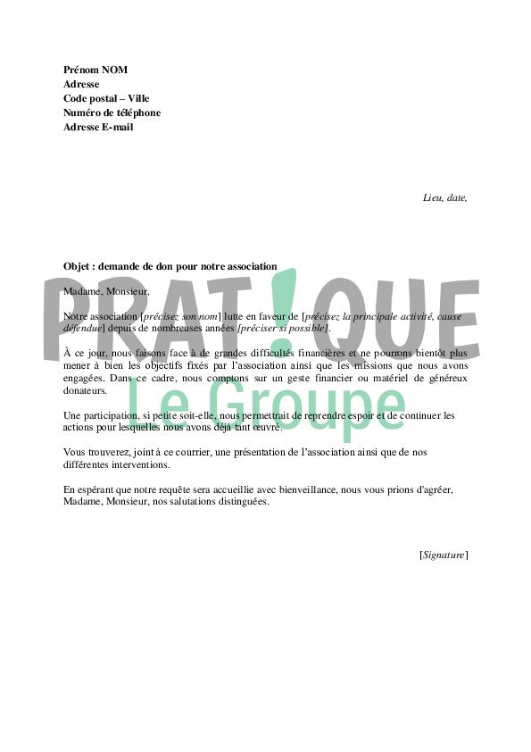 modele lettre demande de don association Lettre de demande de don pour une association | Pratique.fr modele lettre demande de don association