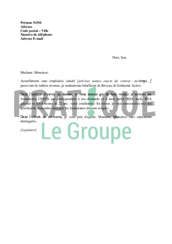 lettre de demande de dossier de revenu de solidarit u00e9