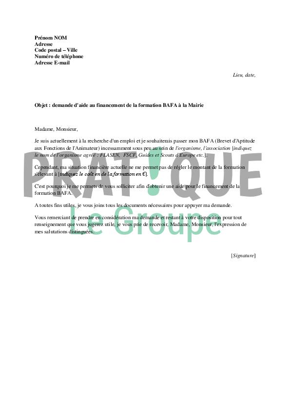 lettre de demande de financement du bafa  u00e0 la mairie