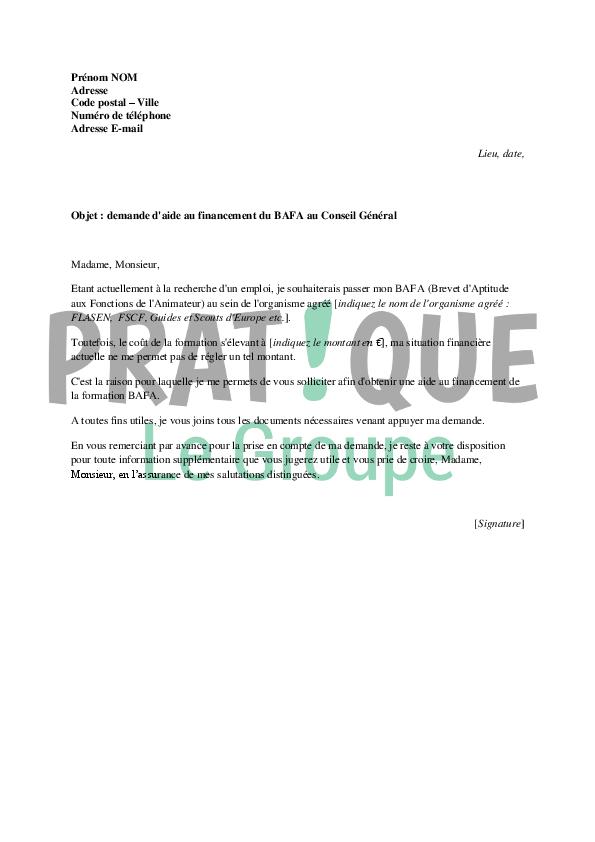 lettre de demande de financement du bafa au conseil