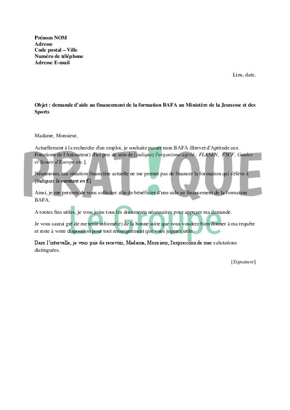 lettre de demande de financement du bafa au mjs
