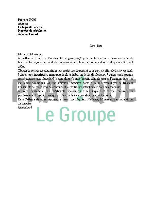 lettre de demande de financement du permis de conduire  u00e0 un organisme public