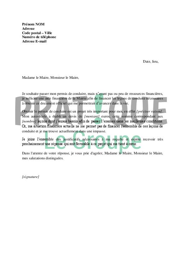 lettre de demande de financement du permis de conduire  u00e0