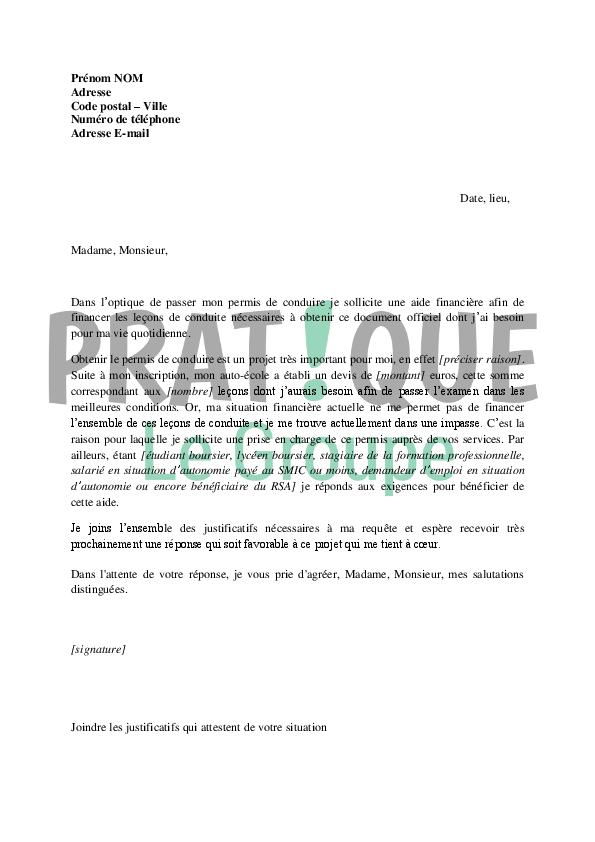 lettre de demande de financement du permis de conduire au conseil g u00e9n u00e9ral