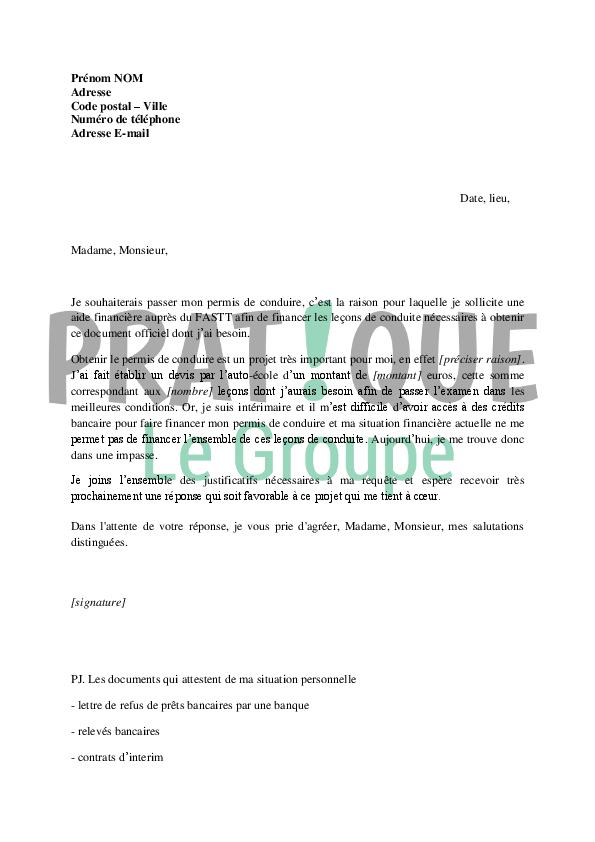 lettre de demande de financement du permis de conduire au