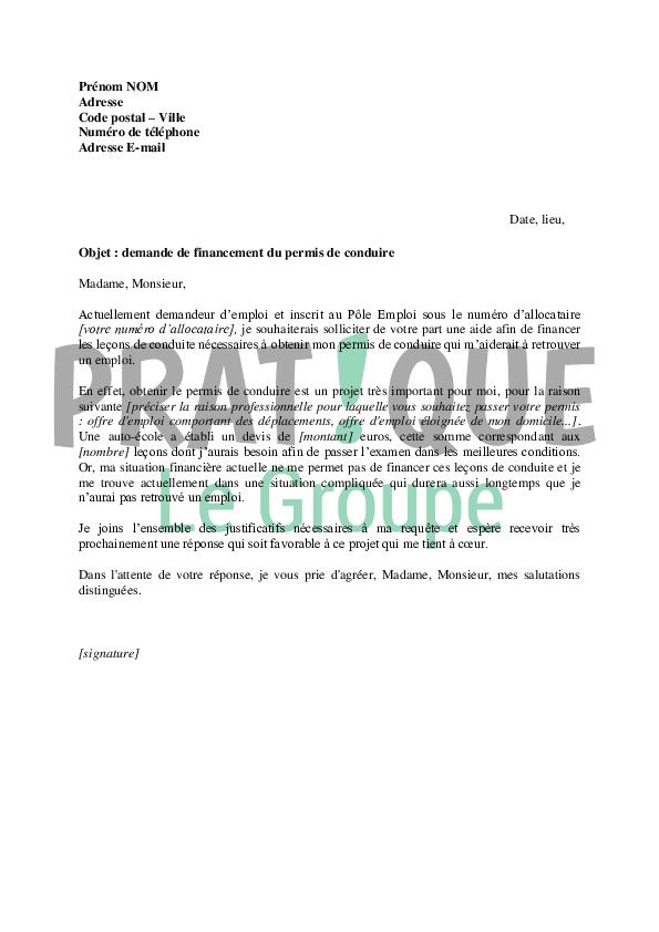 lettre de demande de financement du permis de conduire au p u00f4le emploi