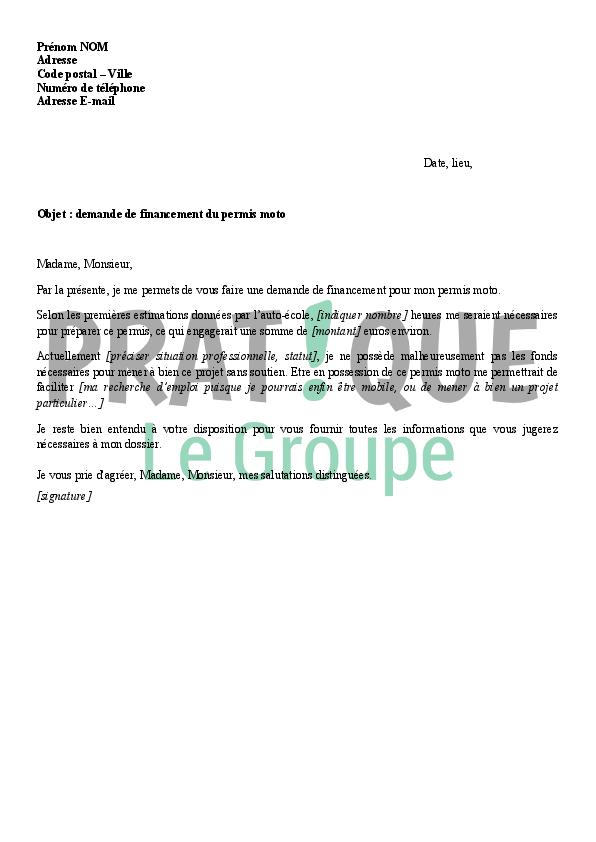 lettre de demande de financement du permis moto