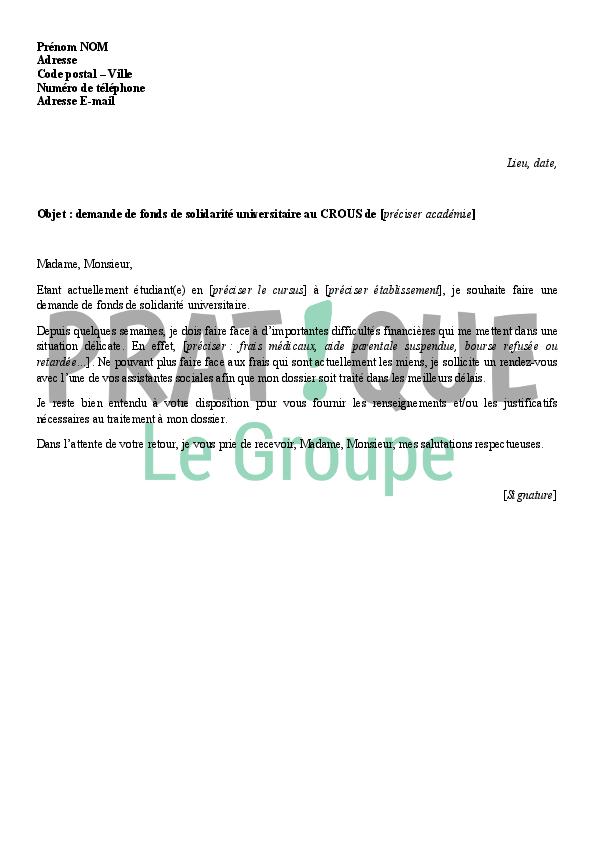 lettre de demande de fonds de solidarit u00e9 universitaire