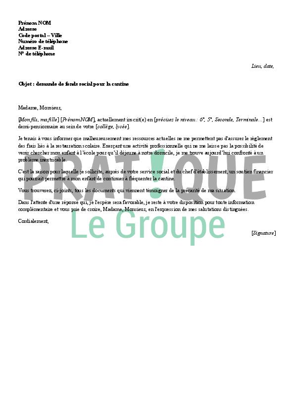 lettre de demande de fonds social pour la cantine
