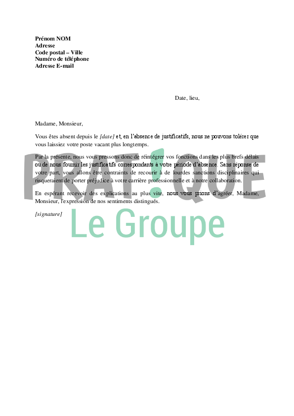 modele de lettre justificatif d u0026 39 absence