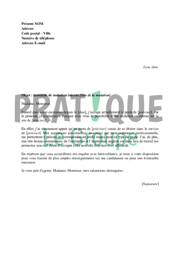 lettre de motivation mutation interne fonction publique