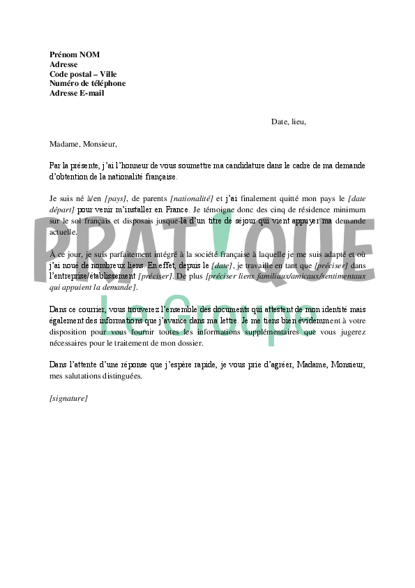 exemple lettre de motivation naturalisation francaise