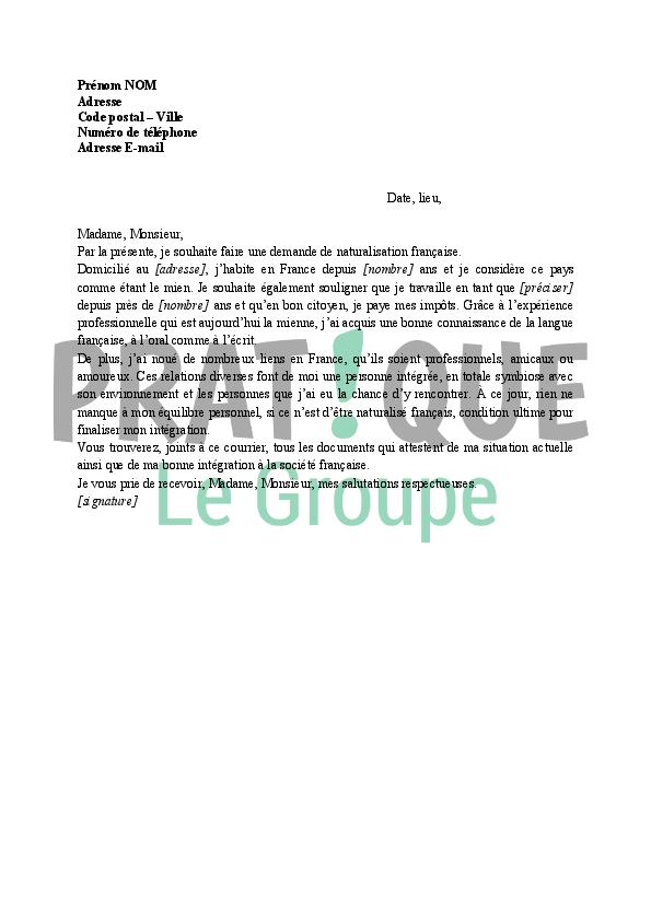 lettre de motivation naturalisation fran u00c3 u00a7aise pdf