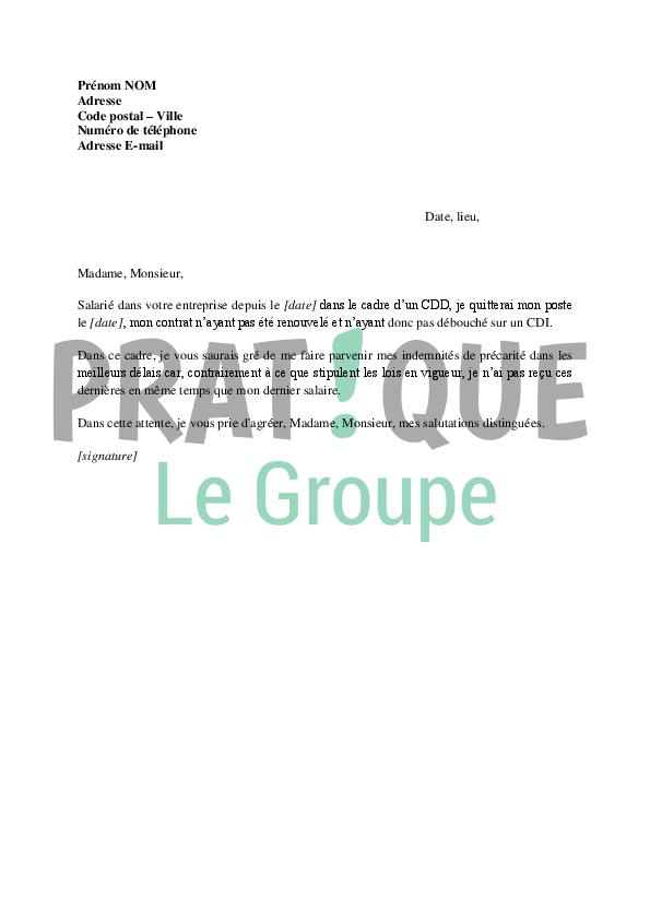 lettre de demande de paiement de l u0026 39 indemnit u00e9 de pr u00e9carit u00e9