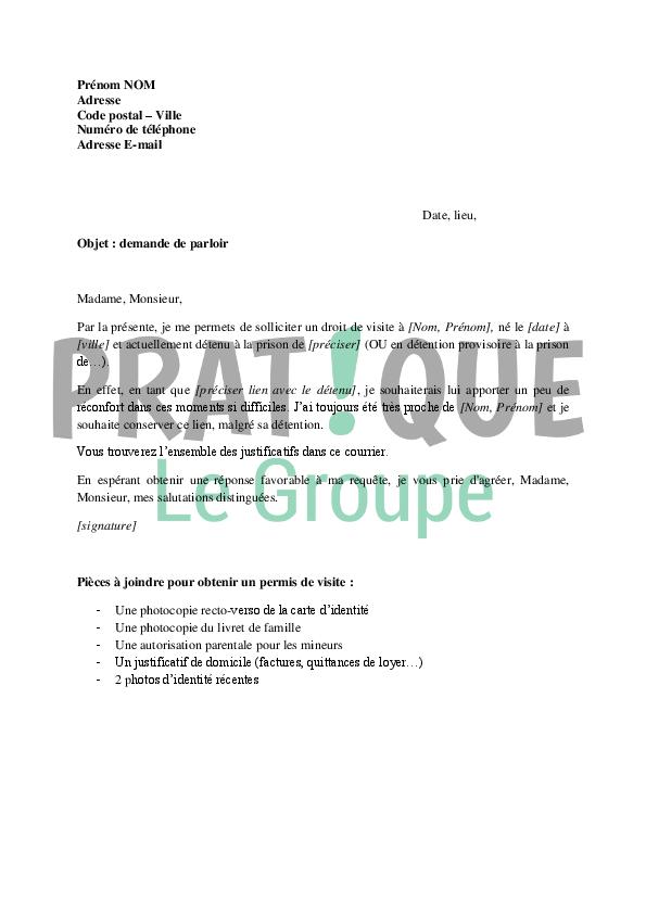 Lettre De Demande De Parloir Pour Un Proche En Prison Pratique Fr