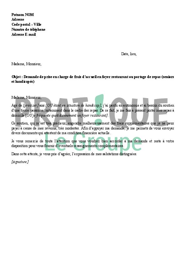 lettre de demande de prise en charge des frais de repas en foyer restaurant. Black Bedroom Furniture Sets. Home Design Ideas