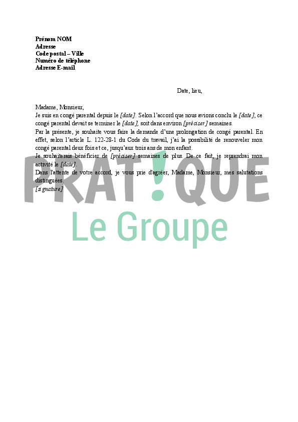 Lettre de demande de prolongation d 39 un cong parental for Garage qui fait credit
