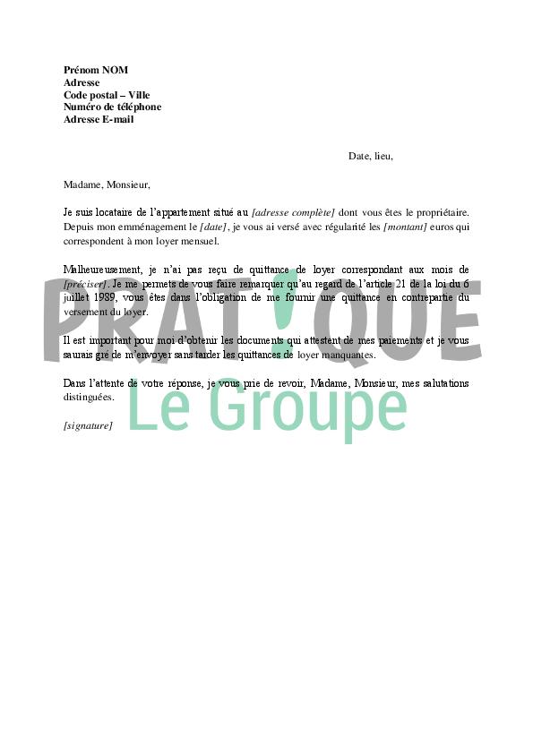 Lettre de demande de quittance à son propriétaire | Pratique.fr
