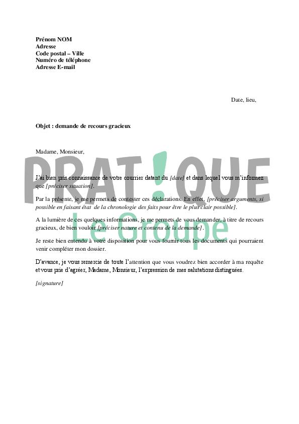 lettre de demande de recours gracieux au tr u00e9sor public