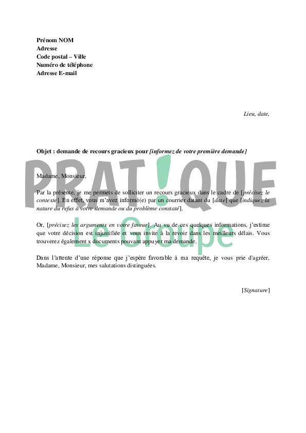 Lettre De Demande De Recours Gracieux Pratique Fr