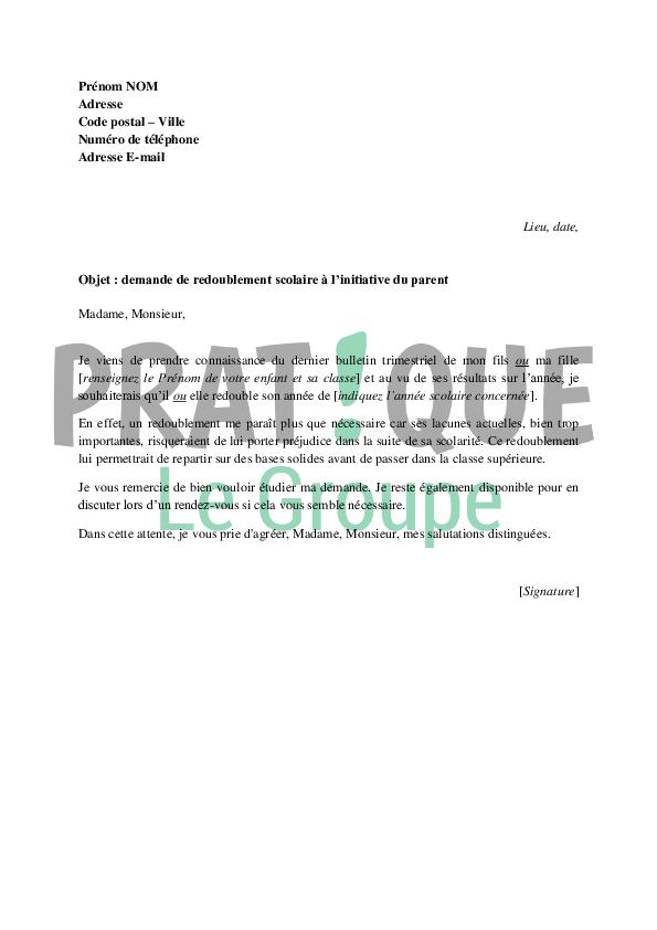 lettre de demande de redoublement scolaire  u00e0 l u0026 39 initiative