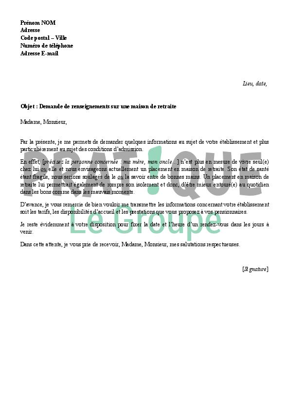 lettre de demande de renseignements  u00e0 une maison de retraite