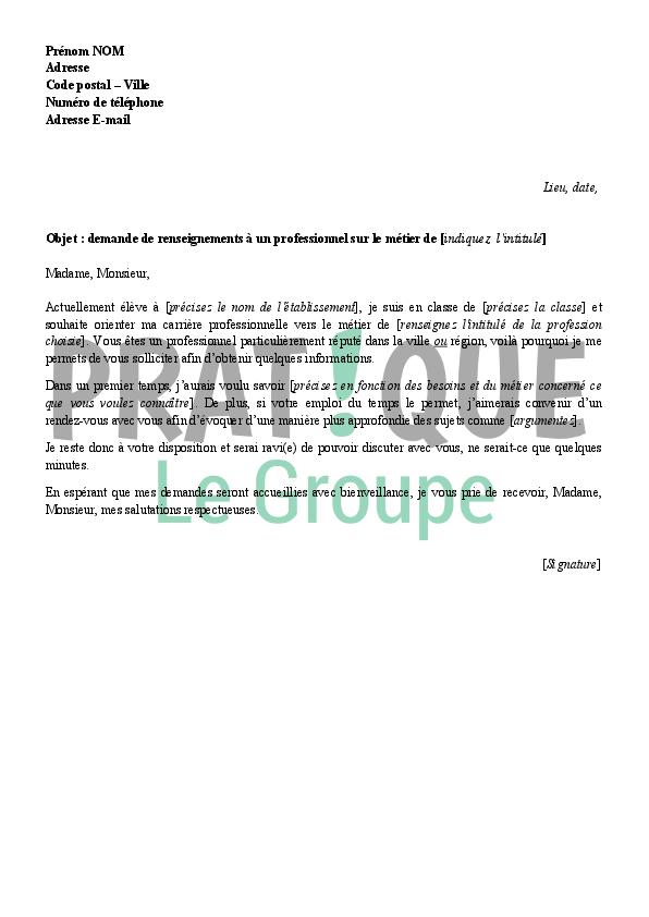 lettre de demande de renseignements sur un m u00e9tier