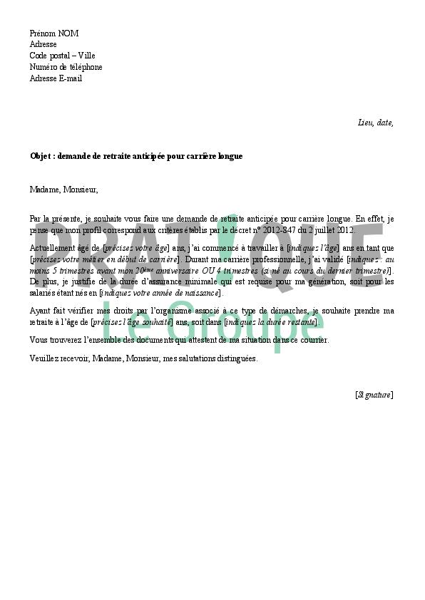 lettre de demission pour retraite anticipée Lettre de demande de retraite anticipée pour carrière longue  lettre de demission pour retraite anticipée