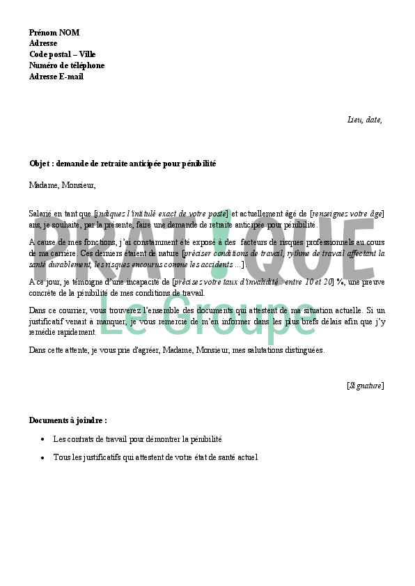lettre de demande de retraite anticip u00e9e pour p u00e9nibilit u00e9