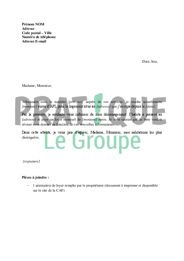 Lettre De Demande De Revision D Un Dossier Apl Suite A Un
