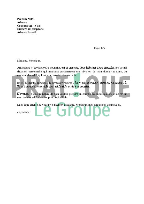 lettre de demande de r u00e9vision d u0026 39 un dossier apl