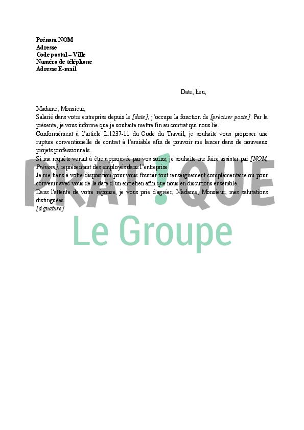 Lettre De Demande De Rupture Conventionnelle Du Contrat De Travail