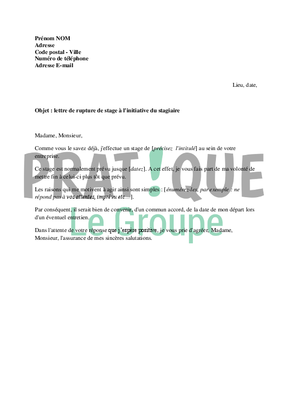 lettre de demande de rupture de stage  u00e0 l u0026 39 initiative du
