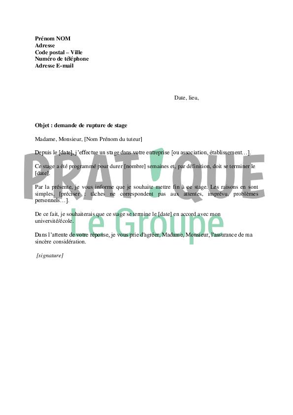 Lettre De Demande De Rupture De Stage Par Le Stagiaire Pratique Fr