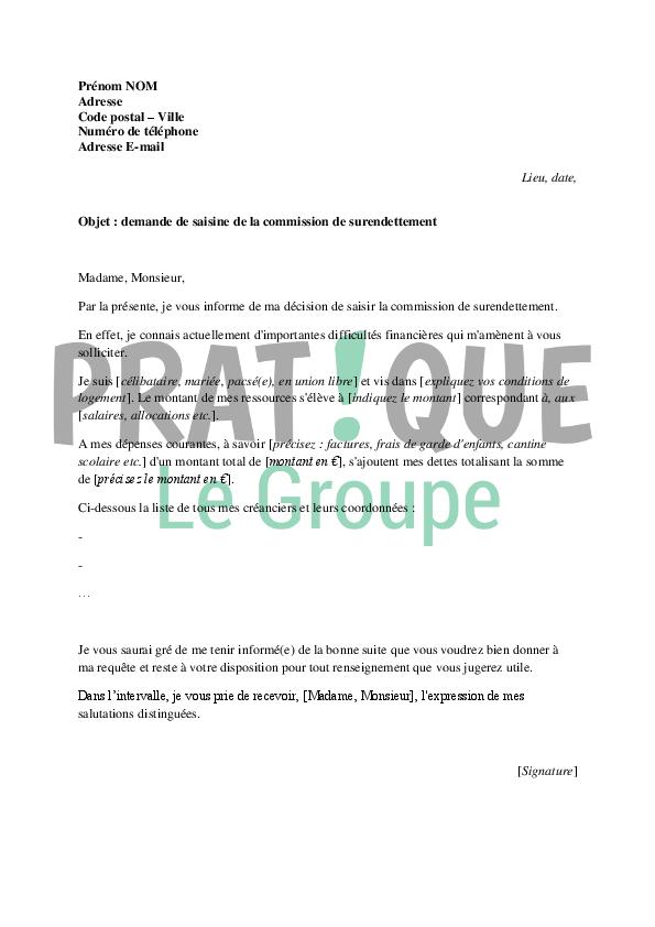 modele de lettre pour un dossier de surendettement Lettre de demande de saisine de la commission de surendettement  modele de lettre pour un dossier de surendettement