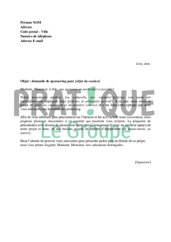 sample cover letter  exemple de lettre de sponsoring