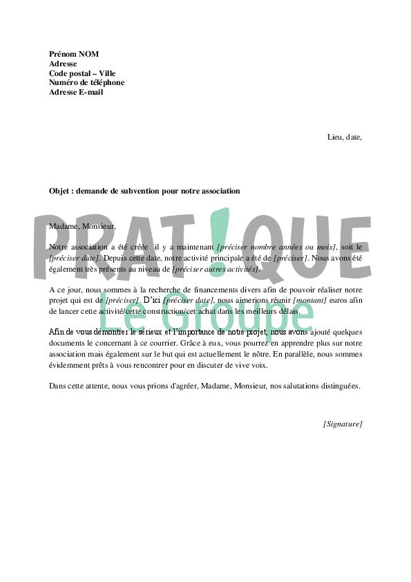 lettre de demande de subvention pour une association