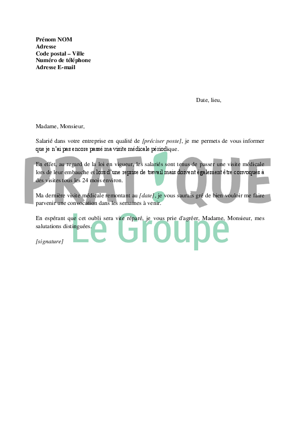 Modele Lettre Visite Medicale De Reprise Document Online