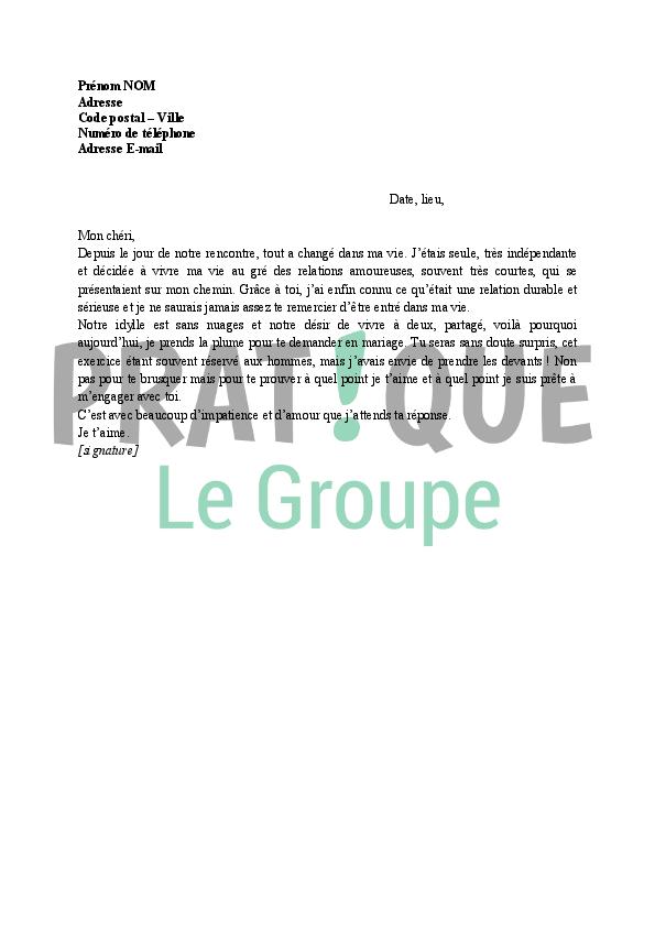 Bien connu Lettre de demande en mariage par une femme | Pratique.fr BO04