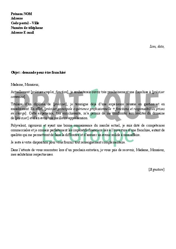 lettre de demande pour devenir franchis u00e9