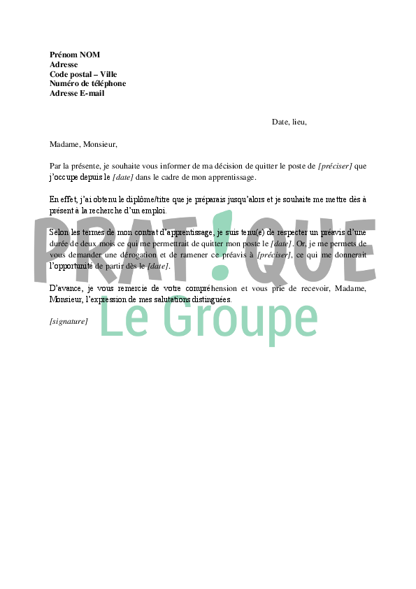 modele lettre de demission contrat d apprentissage gratuit Lettre de démission d'un apprentissage | Pratique.fr modele lettre de demission contrat d apprentissage gratuit