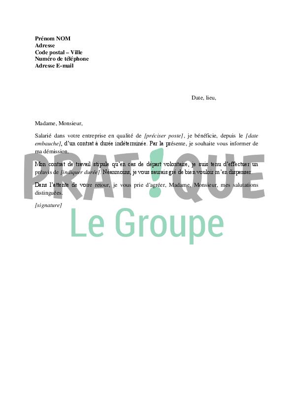 Lettre de démission d'un CDI sans préavis | Pratique.fr
