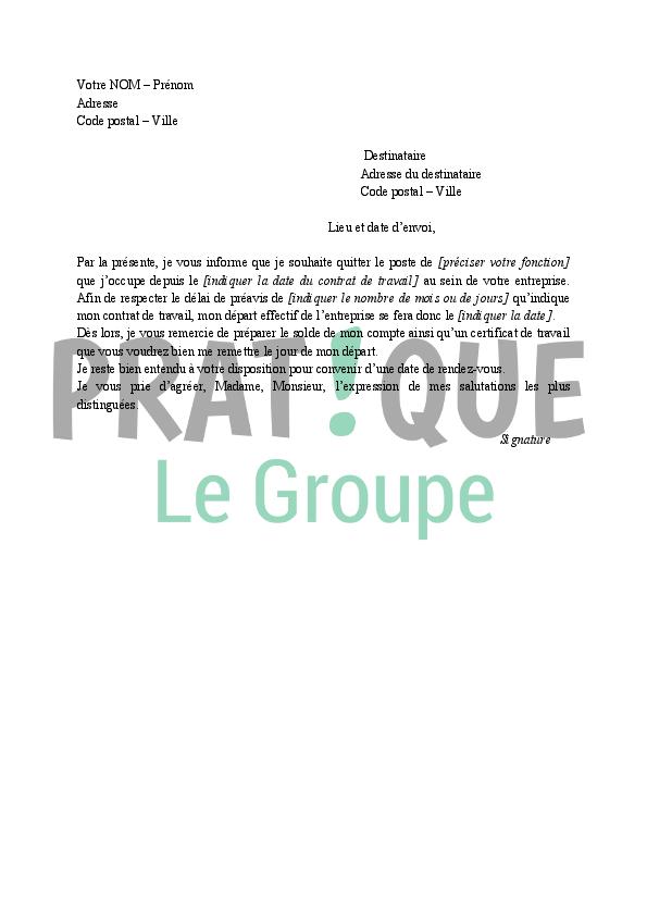 Modele lettre de demission en coiffure document online for Demande emploi cuisinier