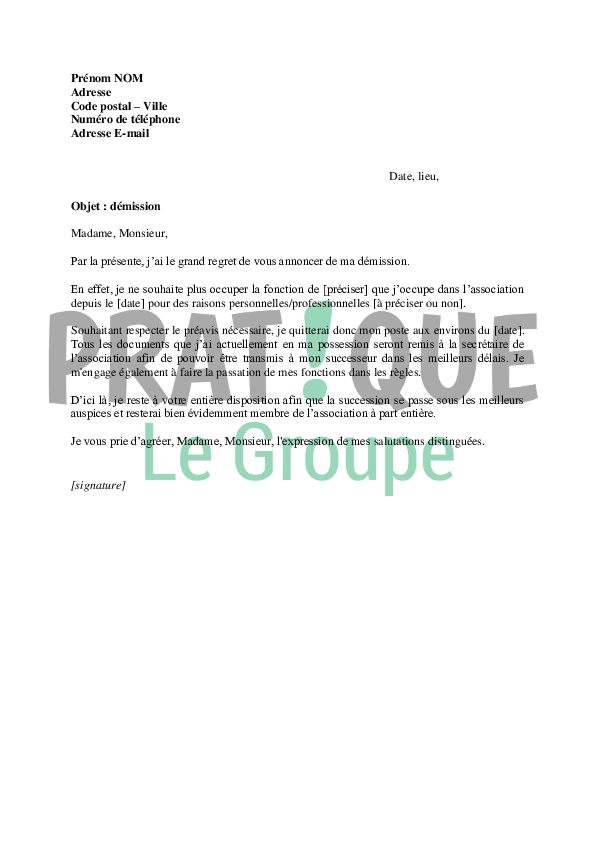 lettre de demission association vice president Lettre de démission d'une association | Pratique.fr lettre de demission association vice president